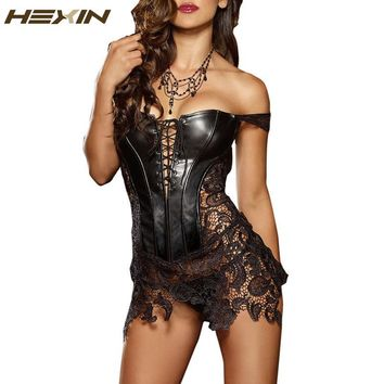 HEXIN Hot Club Dress Women Sexy Clubwear Plus Size Bandage Hollow Out Leather Corset Dress Lace Embroidery Zip Back Dresses 6XL