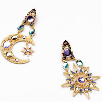 Asymmetric Sun Moon Rhinestone Earrings