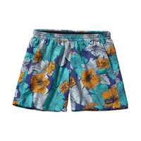 """Patagonia Women's Baggies 5"""" Shorts- Best Fronds- Channel Blue"""