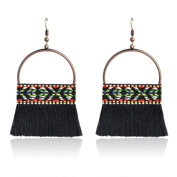 Miss Zoe Indian Pattern big round wool tassels Dangle Earrings Ethnic BOHO Charm Fashion sweet Ear jewelry Gift for Women girls