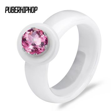 2017 New Rainbow Jewel Engagement  AAA Cubic Zircon Fashion Rings Real Natural Ceramic Wedding Ring bridal Jewelry for women