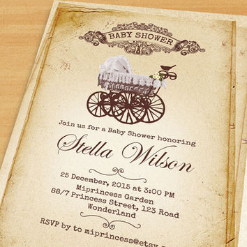 Baby Carriage baby shower invitation Baby boy shower, baby girl shower, vintage Stroller baby shower invitation  - card 339
