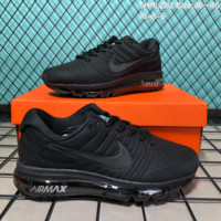 KUYOU N189 Nike Air Max 2017 mesh breathable full palm cushion casual sports shoes Black