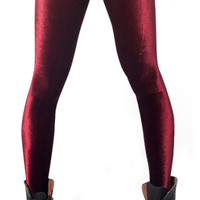 Wine red velvet leggings size medium