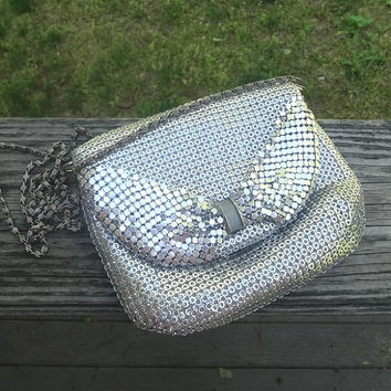 1980s Vintage Silver Mesh Evening Bag or Purse by ELKA, Chain Shoulder Strap, Vintage Purse, 1980s Fashion Purse, Metal Mesh Purse, Prom