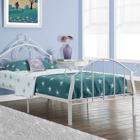 Bed - Twin Size - White Metal Frame Only