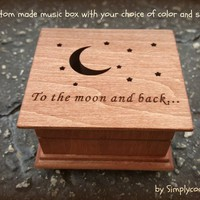 I love you to the moon and back, music box, moon, stars, engraved music box, custom music box, personalized music box, Christmas gift