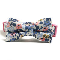 Dog Collar - Collar and Bow Tie - Floral Dog Collar - Blue Floral Dog - Pretty Dog Collar - Collar Bow Tie Set - Girly Dog Collar