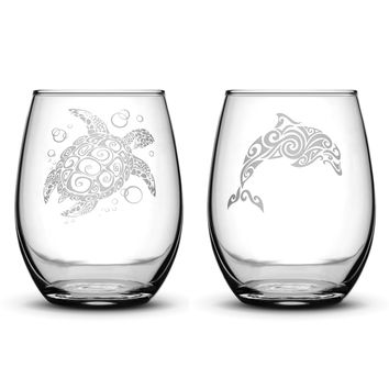 Premium Wine Glasses, Sea Turtle and Dolphin, 15oz (Set of 2)