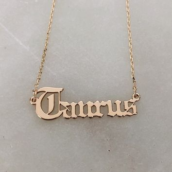 Old English Taurus Necklace in Gold