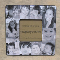 """Personalized Picture Frame, Custom Family Photo Collage, Baby's First Year  8"""" x 8"""" Frame"""