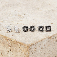 Etched Rhinestone Stud Set