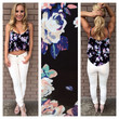 Cobalt Pink Mint Floral Crop Top