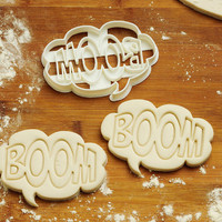 Boom Cookie Cutter birthday favor party cake topper Fondant supplies gift cupcake fabric custom baby ideas design girl pin ear C206