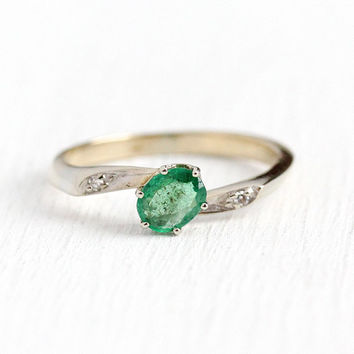 Genuine Emerald Ring - Vintage 14k White Gold Diamond & .30 CT Green Gemstone Bypass - 1940s Size 6 1/4 May Birthstone Dainty Fine Jewelry