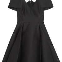 Halston Heritage - Cold-shoulder cotton and silk-blend mini dress