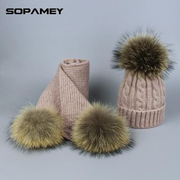 Pompom Hats for Women Raccoon Fur Pompom Hat Scarf Set Girls Boys PomPoms Knitted Beanies Hat Cap Brand Scarves for Women man