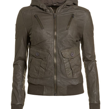 New Womens Superdry Ramona Forces Bomber Leather Jacket Mouse