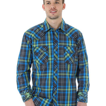 Wrangler 20X Mens Long Sleeve Blue/Lime Plaid Western Shirt