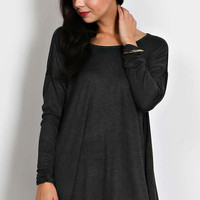 Round Neck Jersey Knit Top - Charcoal