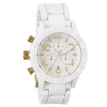 Nixon A0371035 Men's 42-20 Tide Gold Accents White Ion Plated Stainless Steel Chronograph Watch