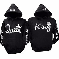 2017 Fashion Autumn Winter Couple Hoodies Sweatshirt Long Sleeve O Neck Pocket Hooded KING QUEEN Crown Printed Lovers Hoodies