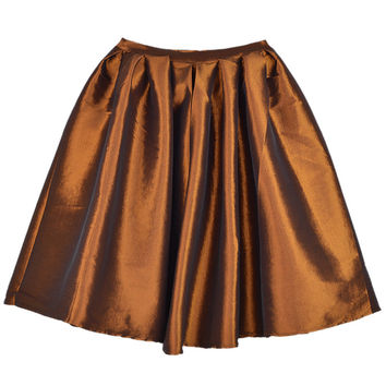 Brown Pleated Skater Skirt