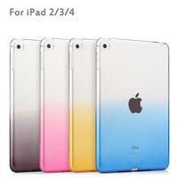 Dual Color Gradient Soft TPU Gel Case For iPad 2/3/4 case Clear Transparent Tablet Case Cover For Apple iPad 9.7''inch