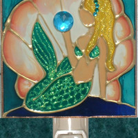Artisan Made Blonde Mermaid Night Light for Girls Stained Glass Decorative Nightlight Beach Ocean Coastal Room Art Gift Kitchen Wall Decor