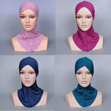 DCCKJG2 Ladies printe pure color muslim cross inner hats/caps cotton hijab modal Render cap 21 color 20pcs/lot