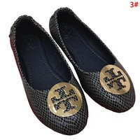 Tory Burch Women Fashion New Leather Egg Roll Leisure Metal Logo Personality Shoes 3#