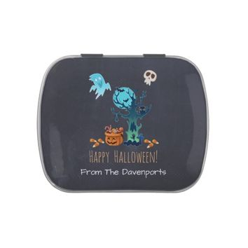 Halloween Spooky Creepy Ghosts Bats Skulls & Candy Candy Tin