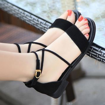 Women Summer Shoes Flat Sandals Ankle Strap Basic Sandal Woman Sandal