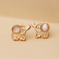 Chic Rhinestone Opal Elephant Shape Stud Earrings for Women