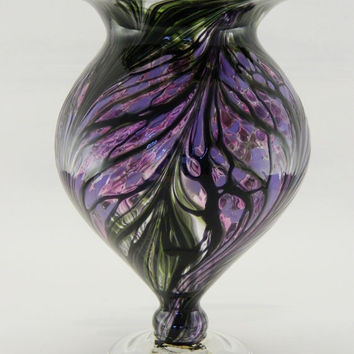 Hand Blown Art Glass Vase Purple and Lavender by ParadiseArtGlass