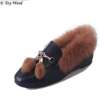 2017 Shop Cheap Australia Hot Sale Cute Winter women's Felt Hair Flat Ankle Snow Boots with Faux Fur Outside for Women femininas