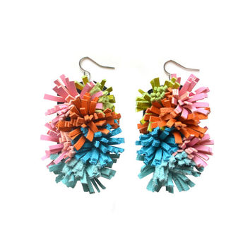 Colorful Leather Earrings, Fiber Art Jewelry, Spikey Coral Fiber Sea Anemone Sculptural Earrings, Pom Pom Fringe Earrings Pink Teal Orange