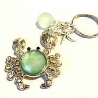 Beach Crab Charm Keychain, Sea Foam Green Sea Glass Key Chain, Ocean Inspired Rhinestone Key Ring, Crab Gift Idea