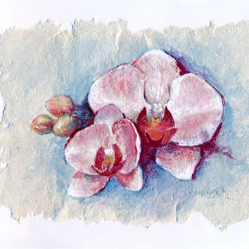 "Watercolor painting - original flower painting ""Orchid flower"" on a handmade watercolour paper"