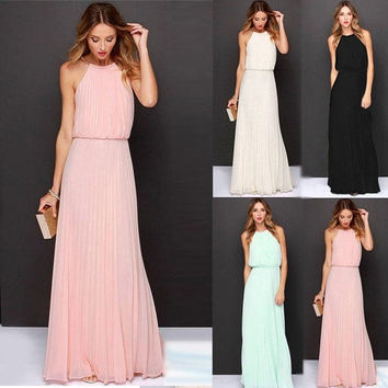 Sexy Women's Chiffon Pleated Long Maxi Boho Formal Evening Party Ball Prom Dress = 1958475012