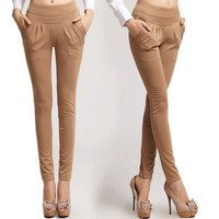 Casual Women Spandex Pants Elastic Slim Harem Pants Thicken Velvet