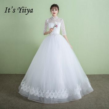It's YiiYa Off White Sleeveless High Collar Wedding Dress Embroidery Simple Pattern Crystal Illusion Pearls Wedding Gowns D318