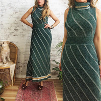Vintage 1970's EMERALD Metallic Maxi Dress || Stretchy Shimmering Glam Disco Crochet Dress || Green Silver Gold || Size Small