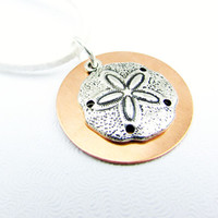 Sand Dollar Necklace, White Suede Cord Necklace, Mixed Metal Sand Dollar Necklace, Copper and Silver Pendant Necklace