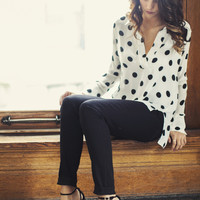 Polka Dot Hi-Low Blouse