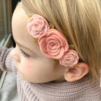 Blush Felt Flower Headband, baby flower headband, Felt Flower Crown Headband, Felt Baby Headbands, Felt Flowers, Flower Headband