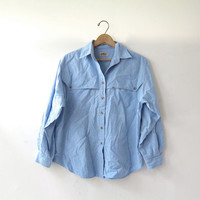 20% OFF SALE / 80s cotton blue shirt. button down shirt. long sleeve shirt. pocket shirt.