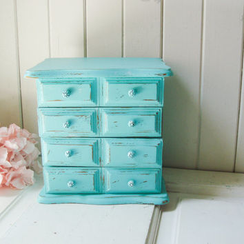 Vintage Aqua Jewelry Box, Teal Jewelry Holder, Shabby Chic, Jewelry Organizer, Distressed Jewelry Chest, Beach Chic, Gift Ideas