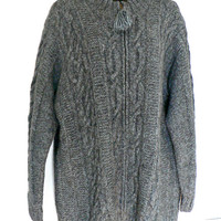Hand Knit Cabled Cardigan Sweater - Thick Knit Alpaca Blend - Full Zip Front - Jones New York - Gray Blue Heather - Women's Petite Size 1X