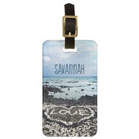 Hawaii Black Beach & Coral Heart Photo Custom Name Luggage Tag